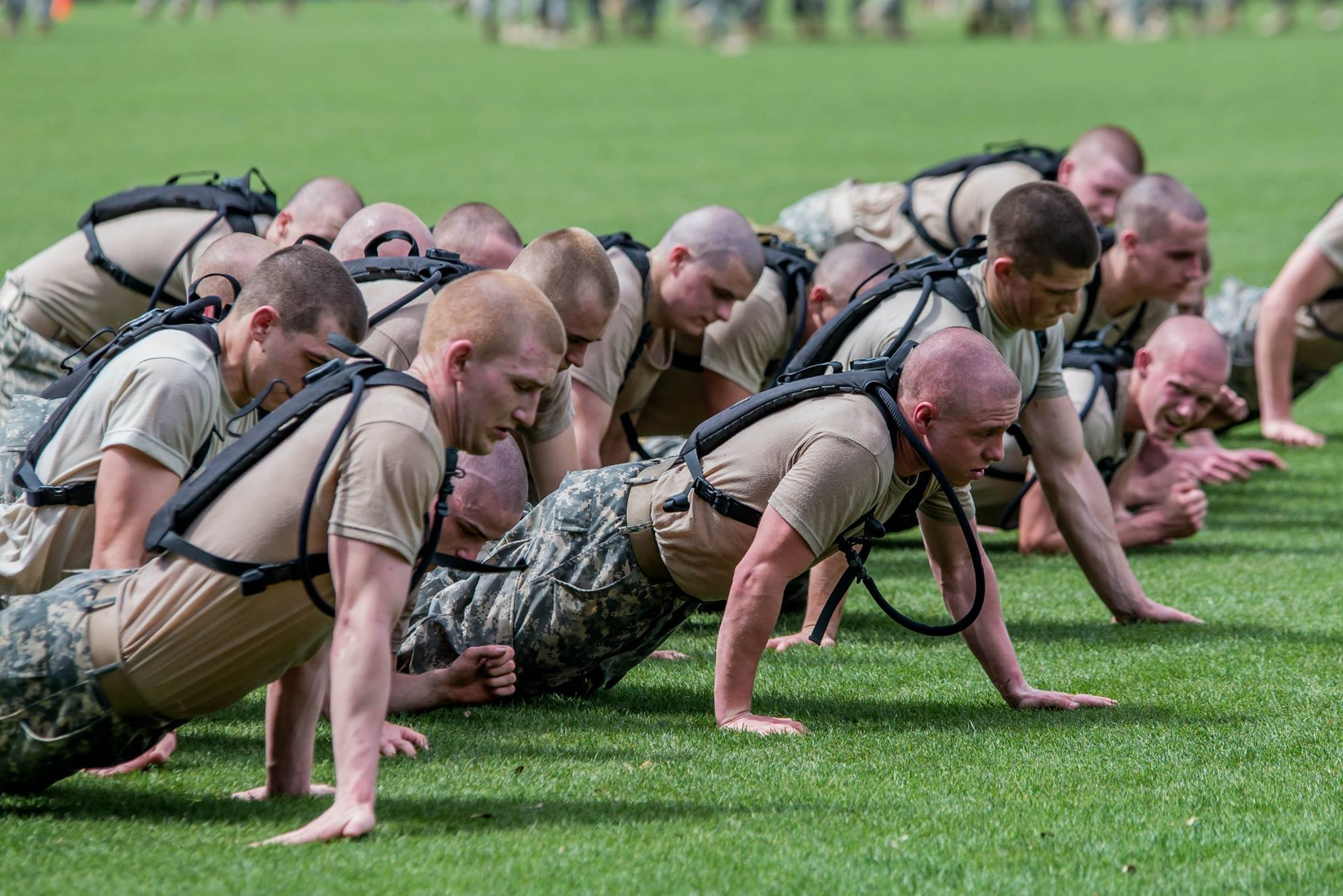 "Knobs crawl during one of the exercises as part of the ""Gauntlet."" photo by Stacy Carter Photography Studios"