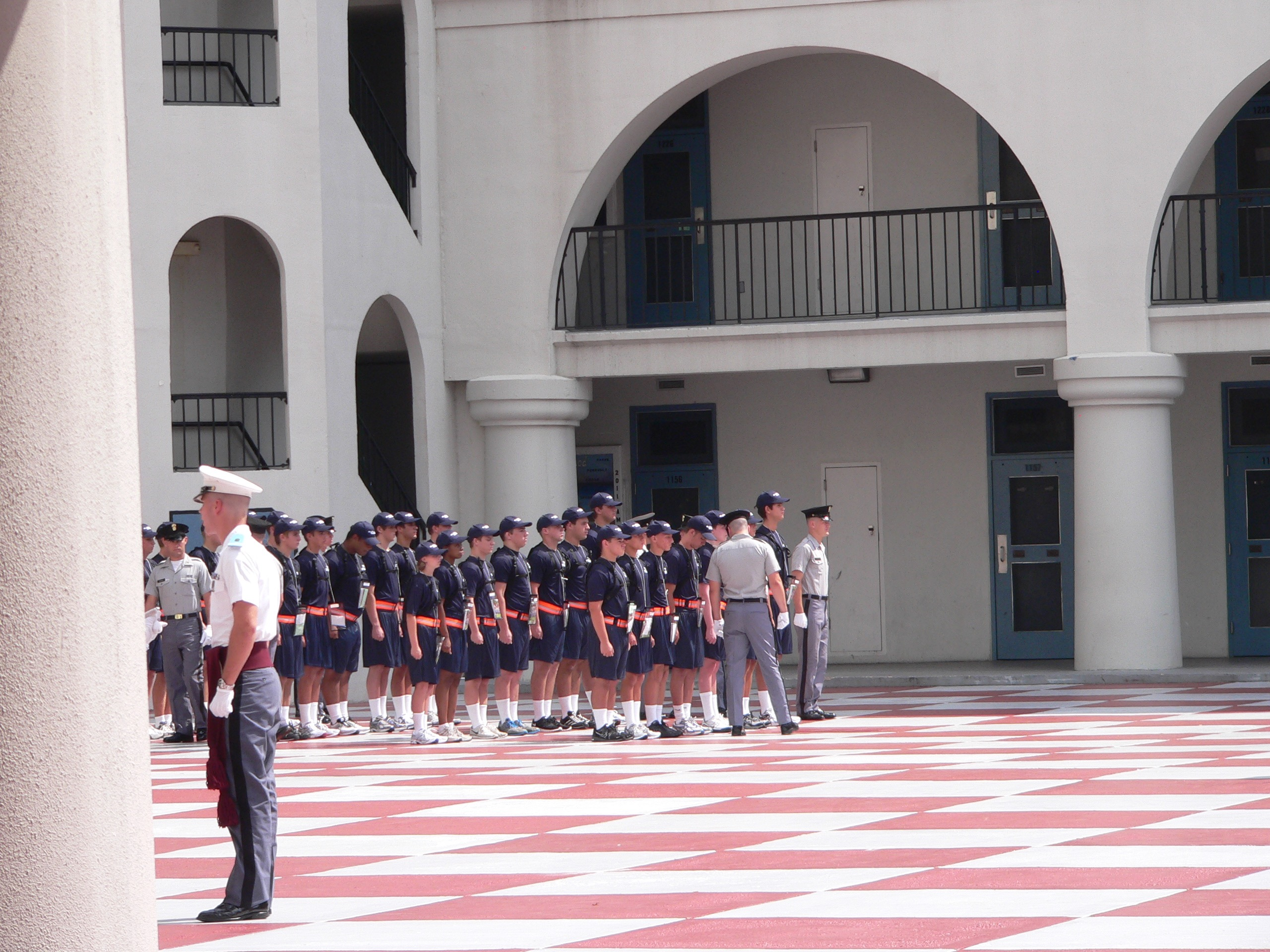 """Bravo Company lining up with their cadre members or as i like to call them, """"The Hospitality Committee"""""""